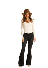 Women's Rock & Roll Jeans, Black Pull On Flares