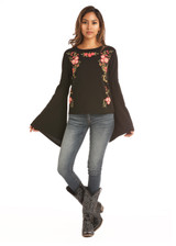 Women's Rock & Roll L/S, Black with Floral Embroidery, Bell Sleeve