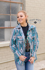 Women's Crazy Train L/S, NFR Worthy, Turquoise and Black Aztec