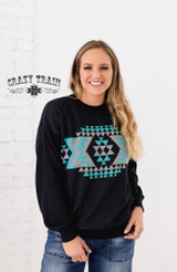 Women's Crazy Train Top, Grand Ol Opry, Black with Blue Aztec