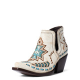 Women's Ariat Boot, Dixon, Crackled White with Turquoise Aztec Inlay