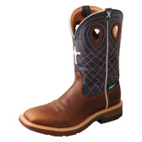 Men's Twisted X Work Boot, Mocha Vamp, Navy Shaft with Orange Stitching and Cross