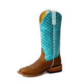 Women's Macie Bean Boots, Tex Marks The Spot, Tan Vamp with Turquoise Diamond Stitch Vamp