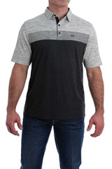 Men's Cinch S/S, ArenaFlex Polo, Black and Gray Striped