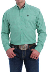 Men's Cinch L/S, Green, White and Black Print