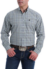 Men's Cinch L/S, Mint, Black and Gray Plaid