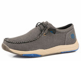 Men's Roper Shoe, Gray with Blue Accents, Elastic Laces