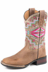 Kids Roper Boot, Brown with Aztec Shaft, Pink Stitching