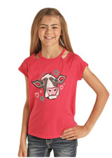 Girls Rock & Roll Tee, Hot Pink, Neck Cutout, Cow Graphic