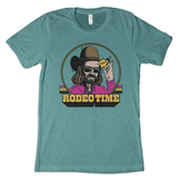 Men's Dale Brisby Tee, Hat Flick, Turquoise with Neon Rodeo Time