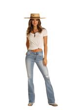 Women's Rock & Roll Jeans, Mid Rise Bootcut, Light Wash, Distressed, Raw Hem