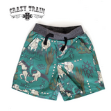 Kids Crazy Train Shorts, Turquoise with Cowboy Print