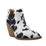 Women's Barn Babe Booties, Black and White Cowprint