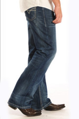 Men's Rock & Roll Jeans, Relaxed, Boot Cut, Dark Wash, Tan Vintage