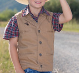 Kids Wyoming Traders, Bronco Canvas Vest, Tan