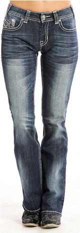 Women's Rock & Roll Jeans, Mid-Rise, Silver Studded Pocket