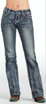 Women's Rock & Roll Jeans, Boyfriend, Gray Stone Wash