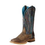 Men's Ariat Boot, Chute Boss Brown, Blue Top, Square Toe