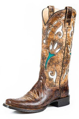 Women's Stetson Boot, Antique Brown/ Turquoise Inlay