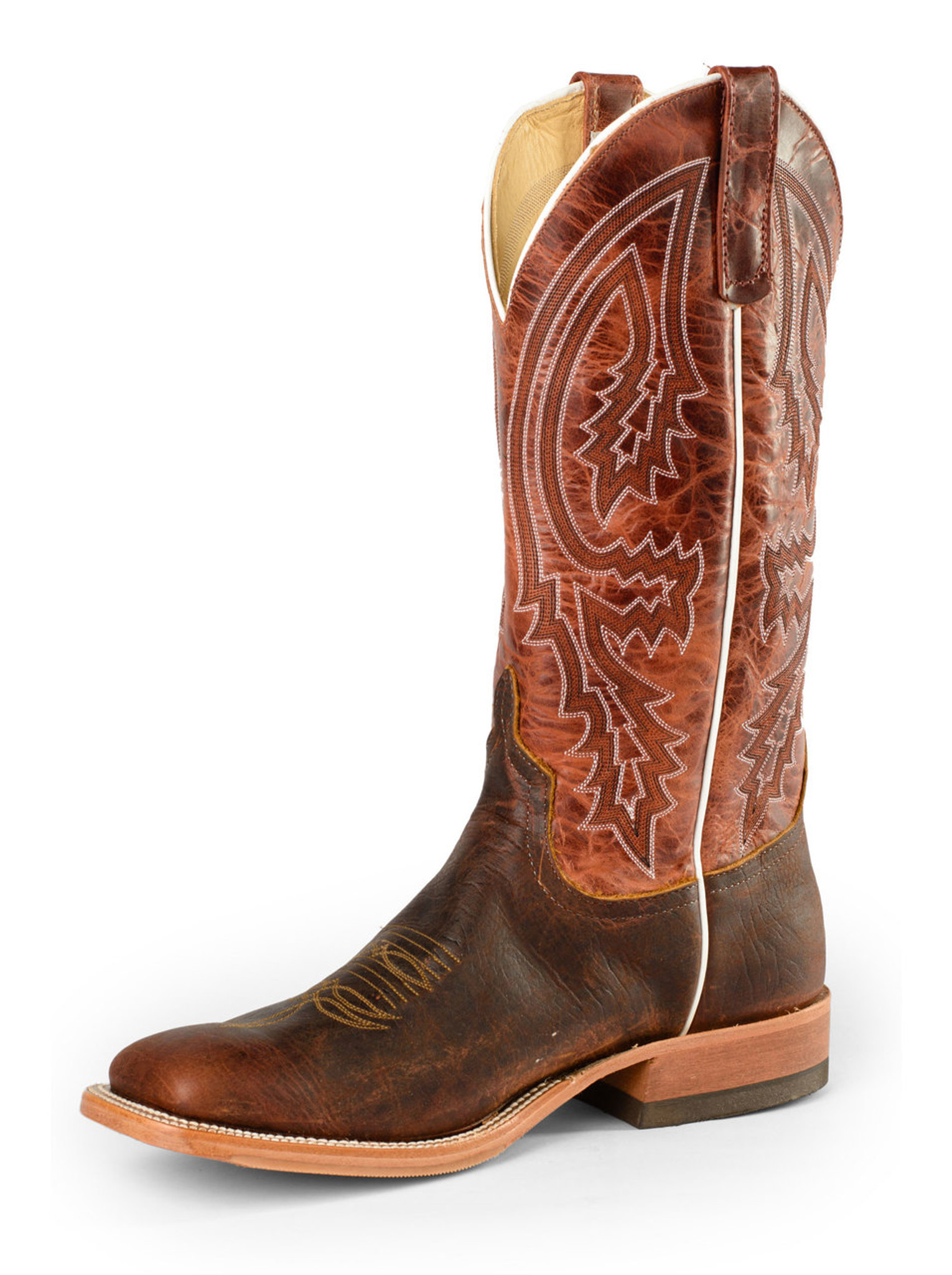 fe897840764 Men's Anderson Bean Boot, Rust with White Piping and Chocolate Brown
