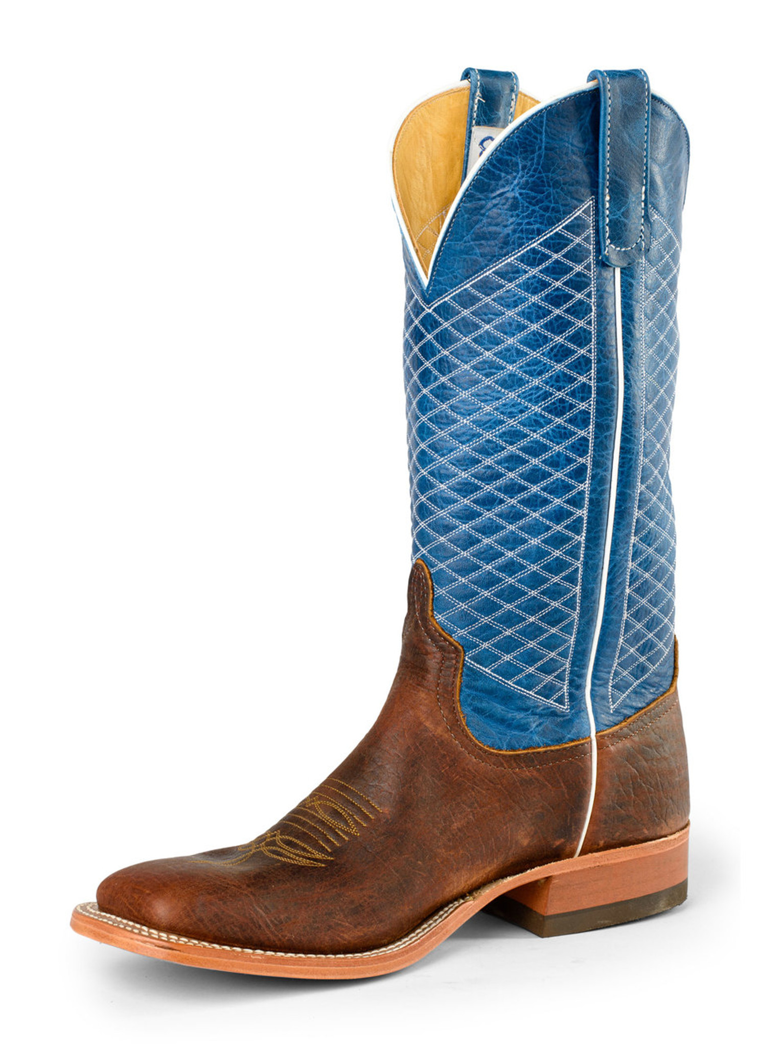 Men S Anderson Bean Boot Blue Chocolate Quilt Stitch Pattern Chick Elms Grand Entry Western Store And Rodeo Shop