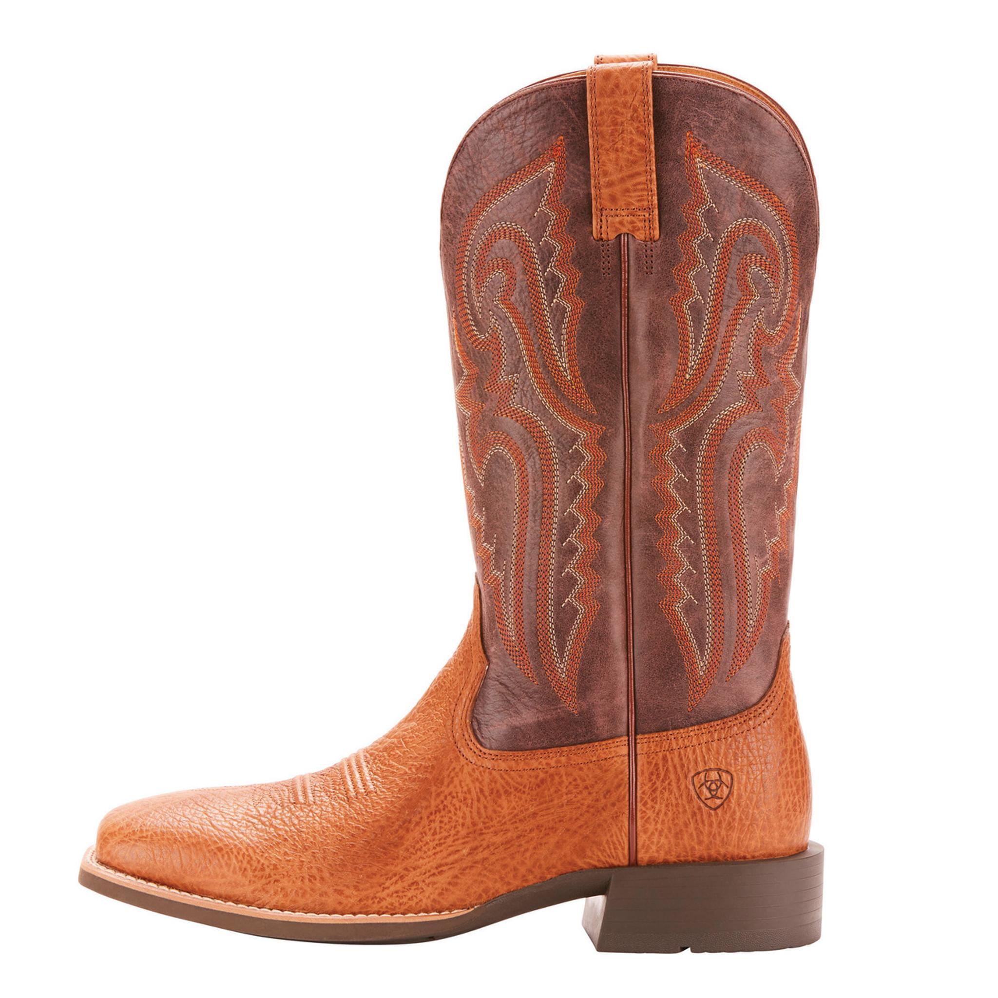 SALE Ariat Men/'s Tan Bullhide Brown Heritage Latigo Square Toe Boots 10025097