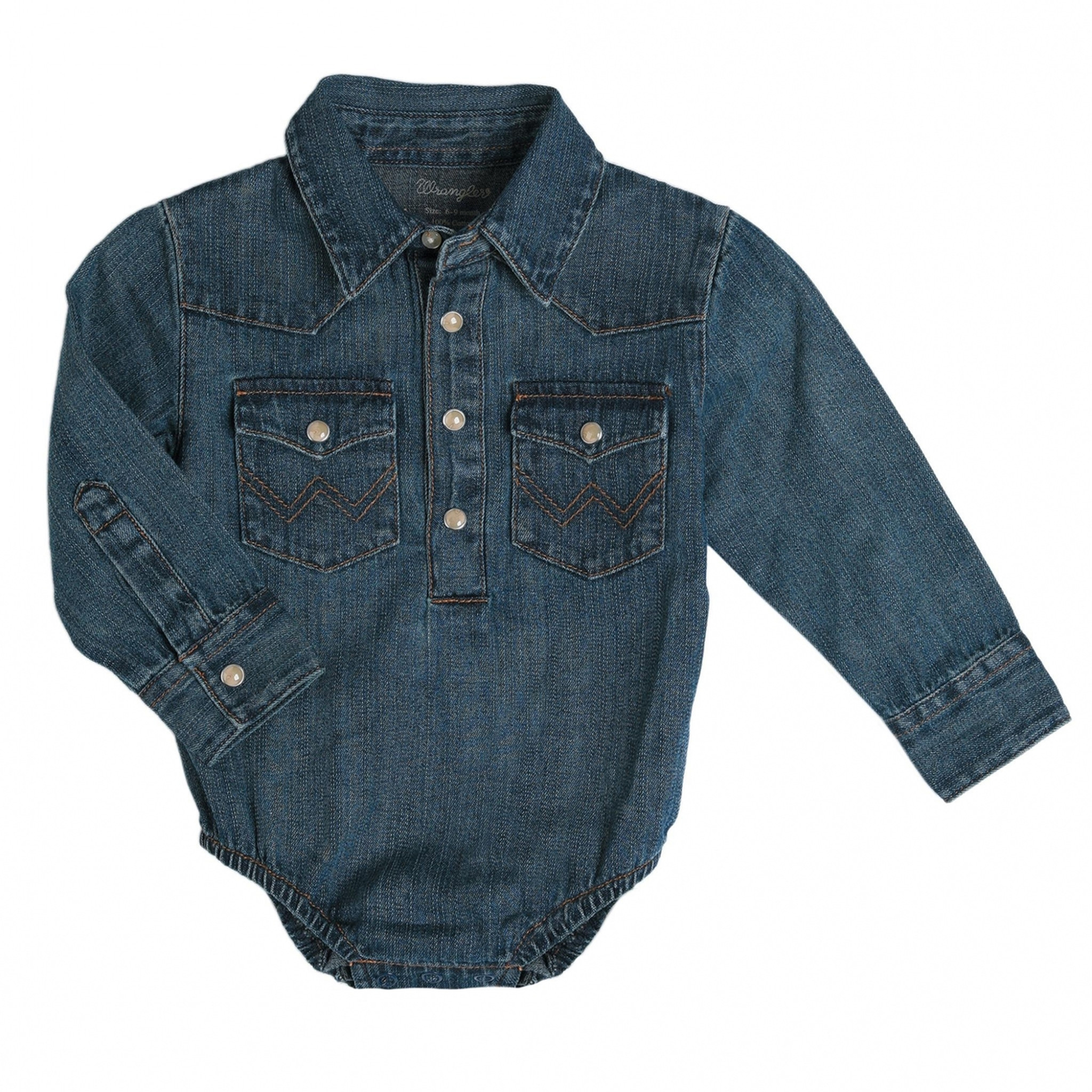f3f4134c Baby Wrangler Denim Onesie - Chick Elms Grand Entry Western Store and Rodeo  Shop
