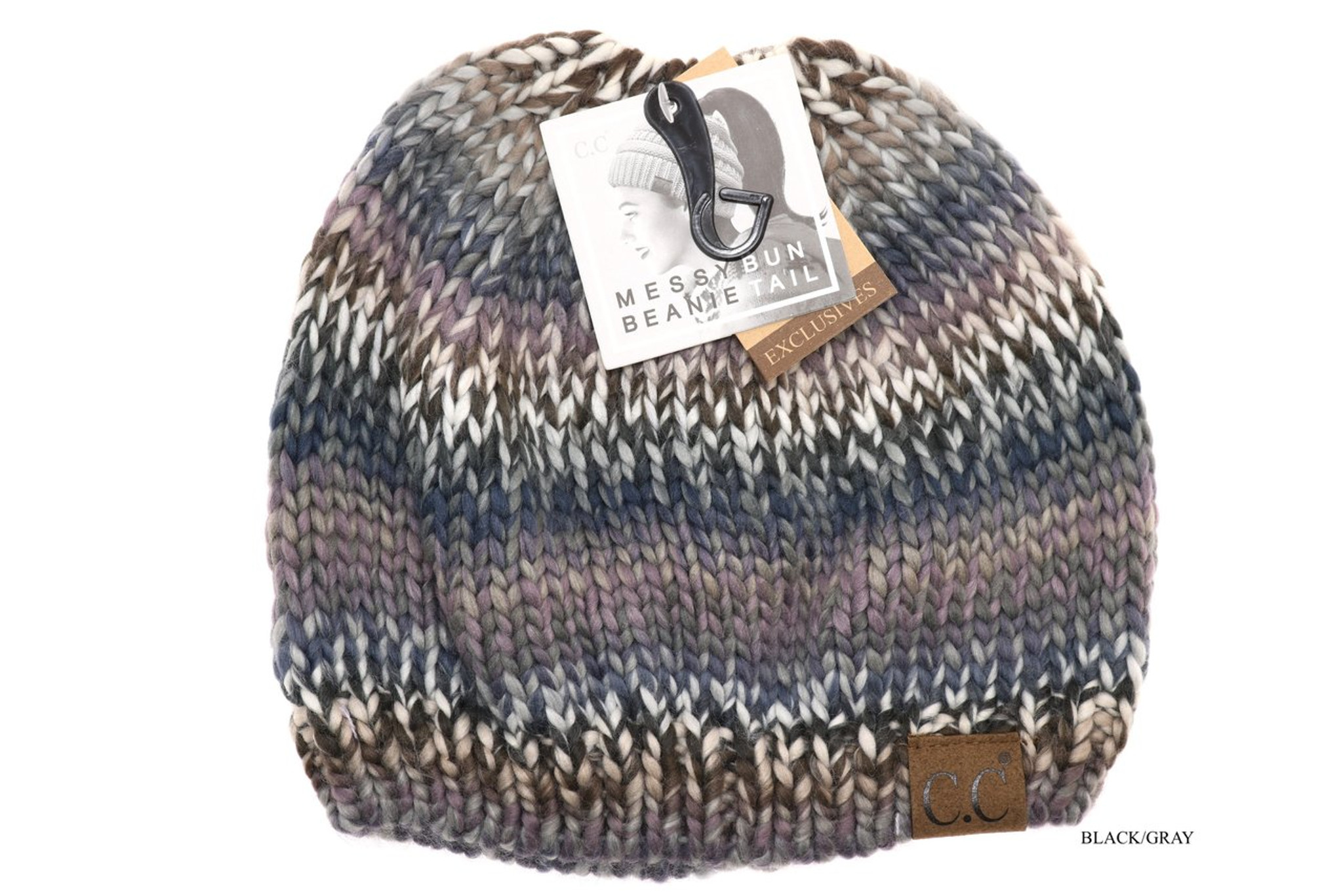 3afe676e7 C.C. Beanie, Multi Color, Messy Bun Beanie Tail