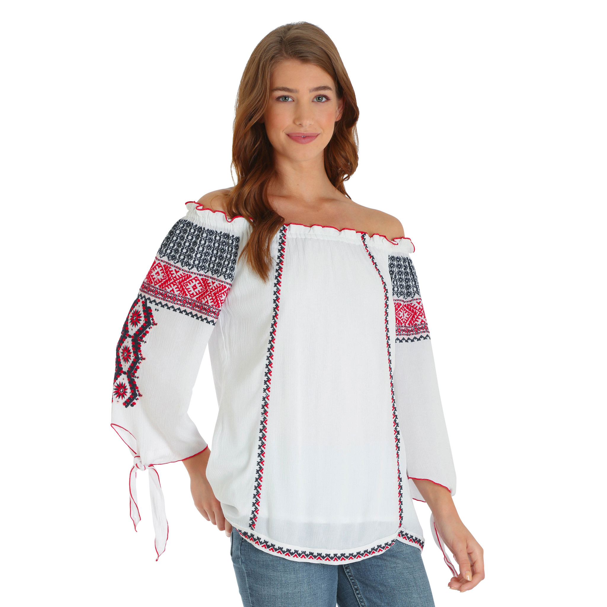 d18adc72635 Women's Wrangler Top, Off Shoulder, Ivory with Embroidery - Chick Elms  Grand Entry Western Store and Rodeo Shop