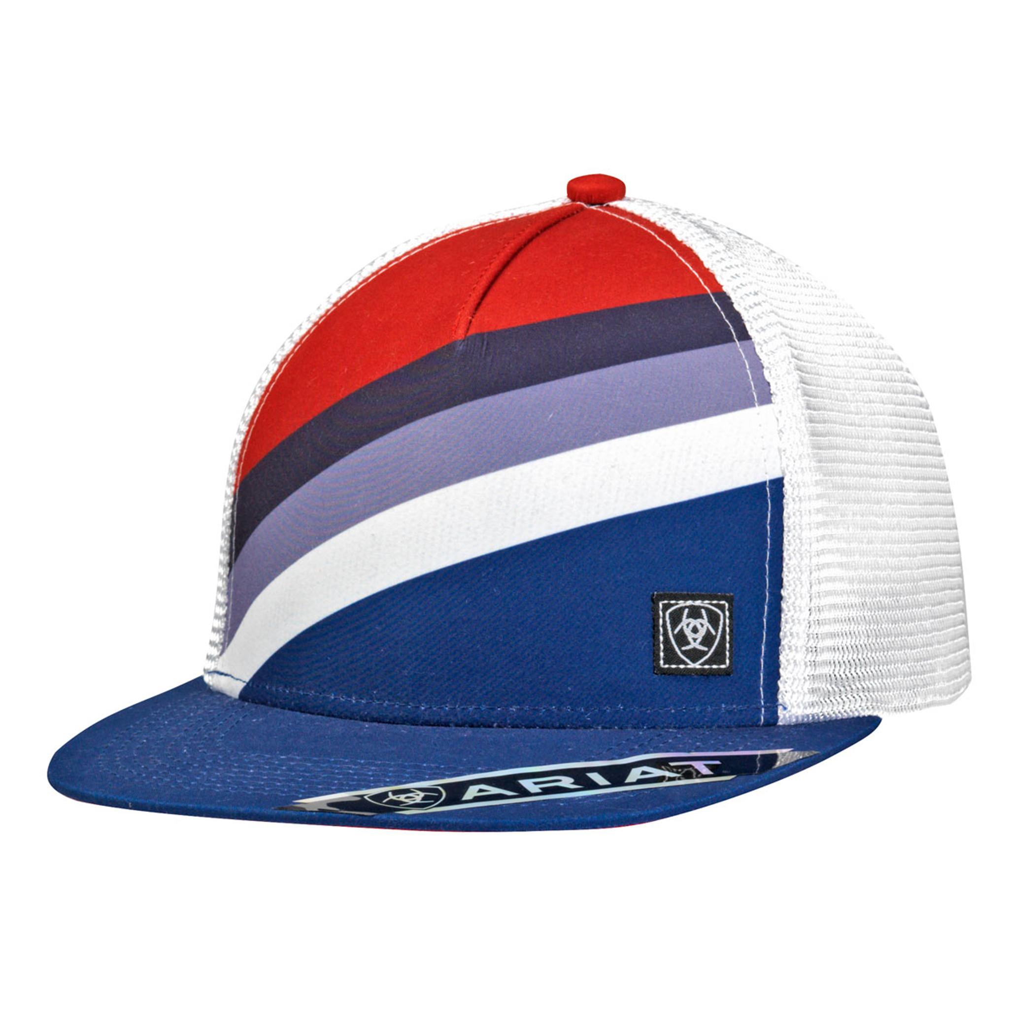 Men's Ariat Cap, Blue and Red Diagonal Stripes