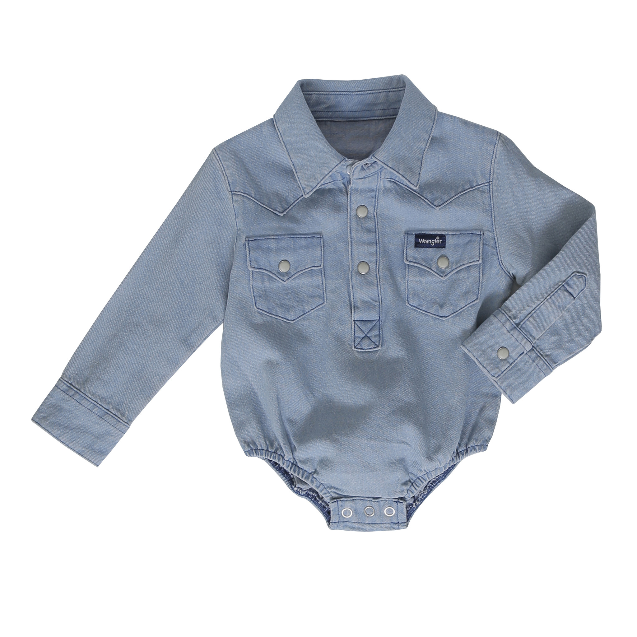 20e4c7ff Baby Wrangler Onesie, Light Denim - Chick Elms Grand Entry Western Store  and Rodeo Shop