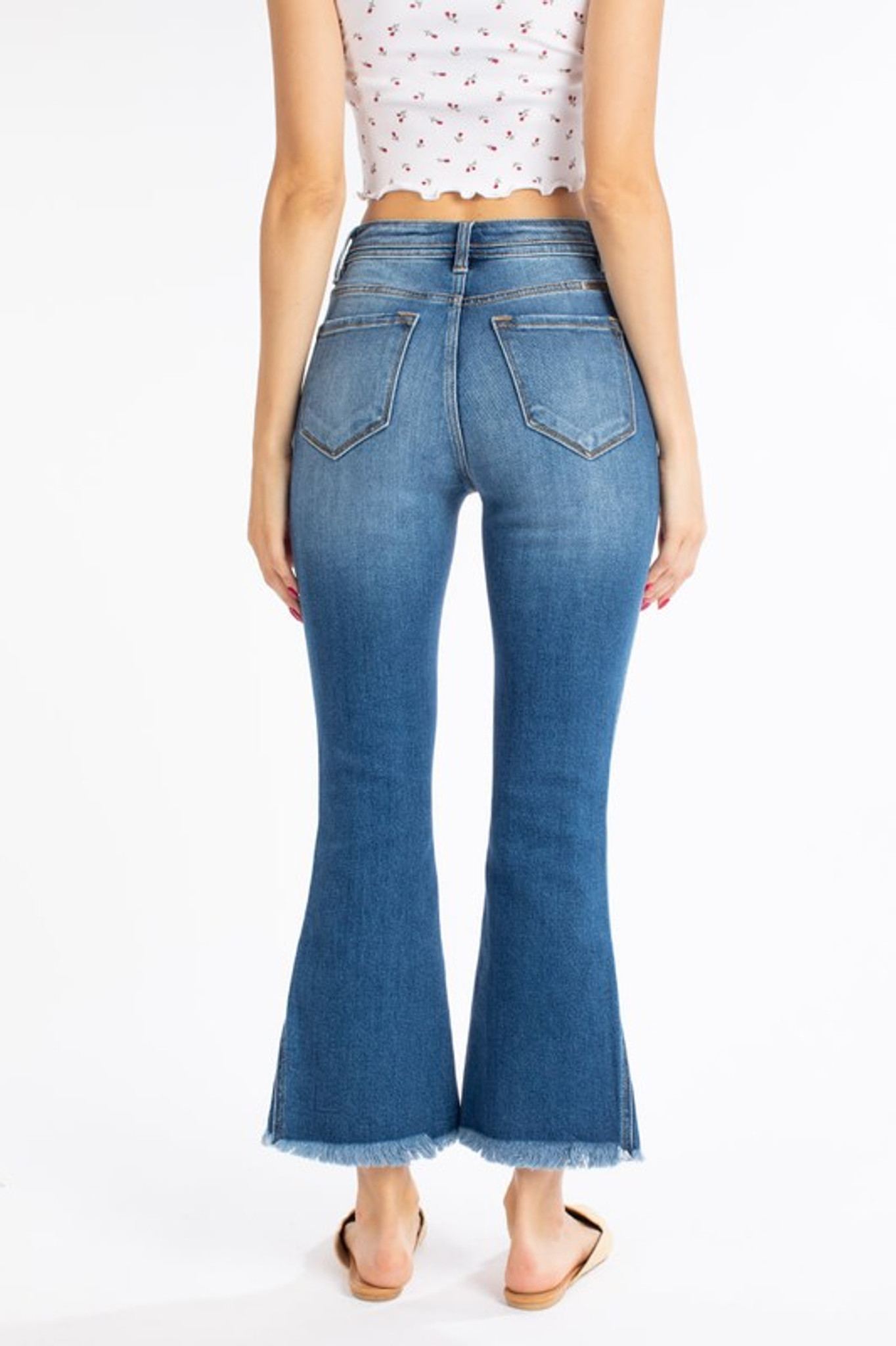 Women S Kancan Jeans High Rise Crop Flare 4 Buttons Raw Hem Chick Elms Grand Entry Western Store And Rodeo Shop