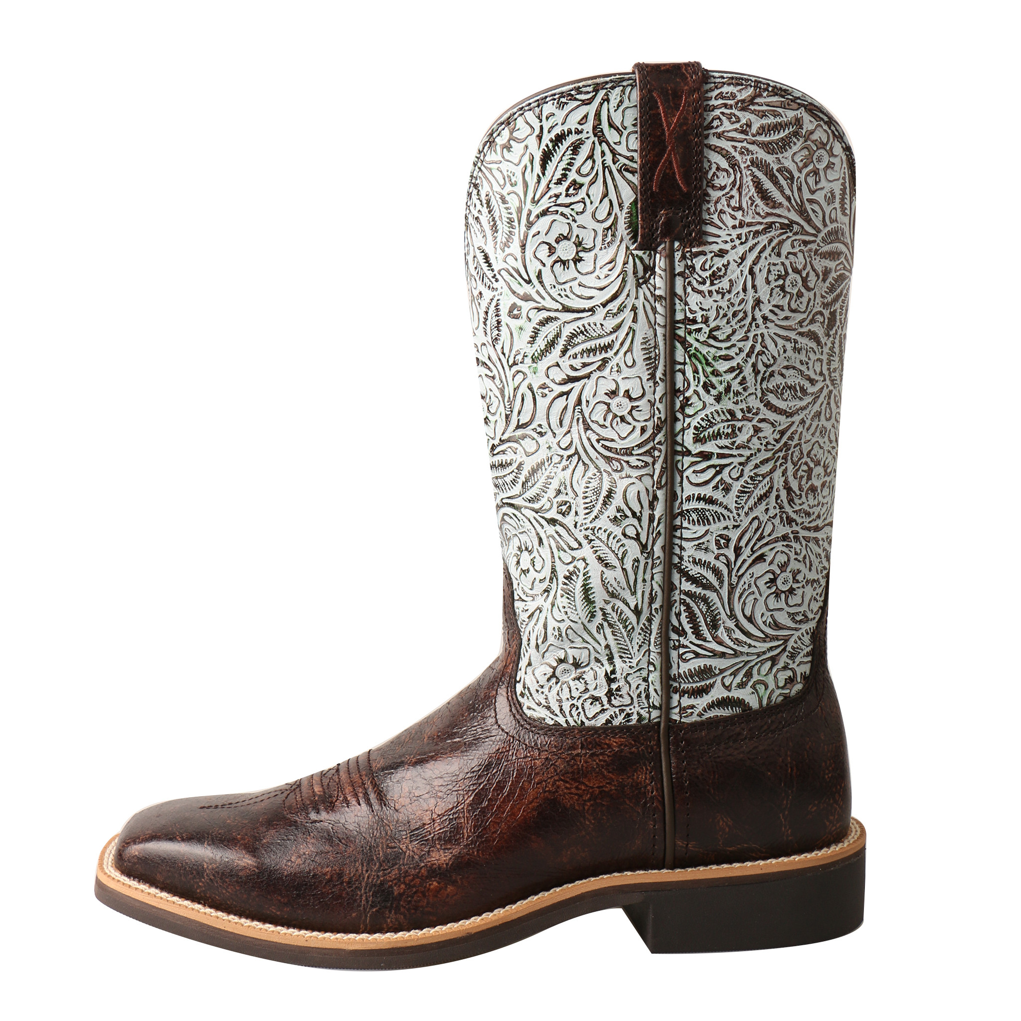 Women's Twisted X Boot, Top Hand, Dark Brown Vamp with Tooled White Shaft