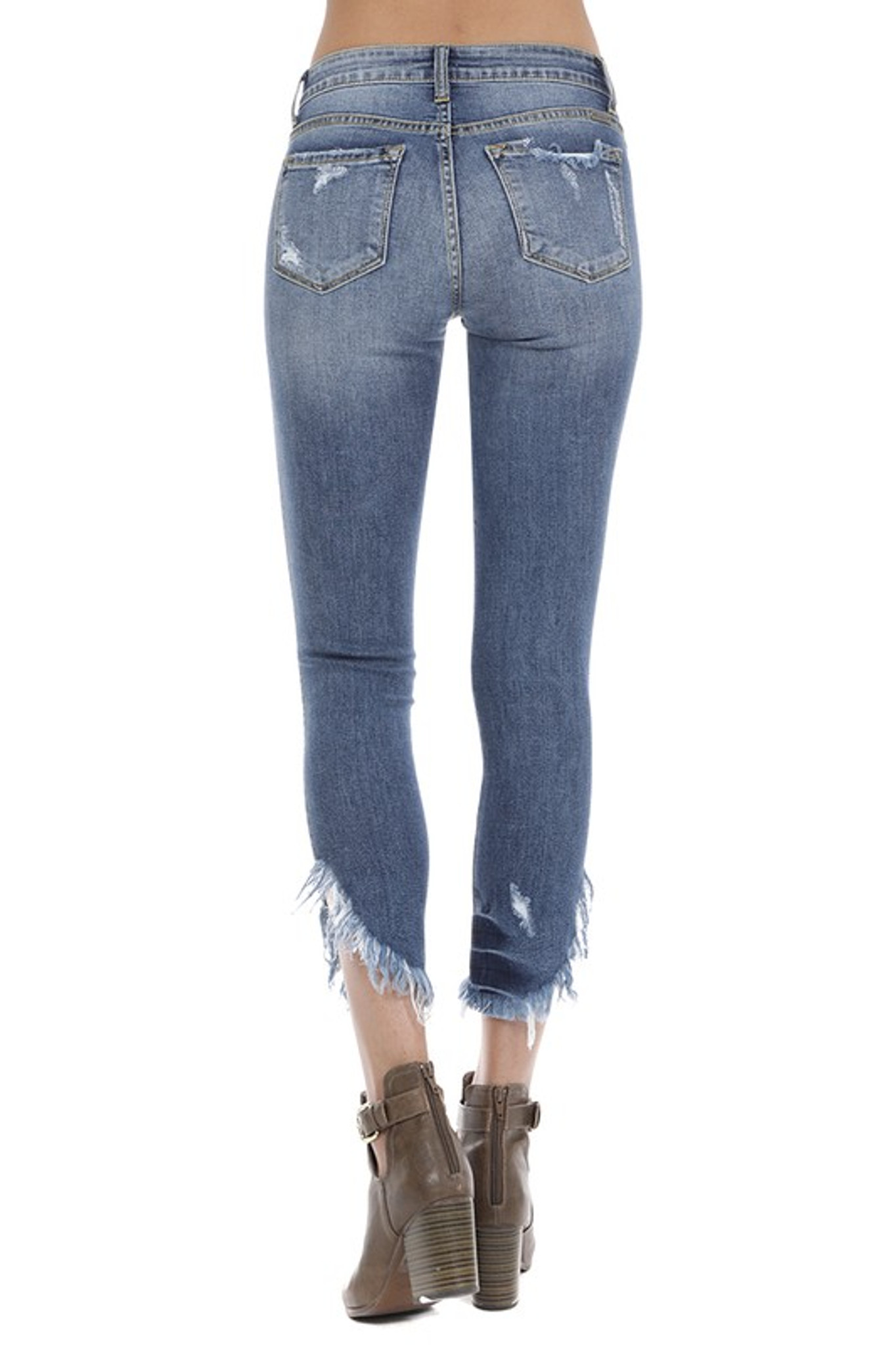 Women S Kancan Jeans Mid Rise Super Skinny Angled Fringe Hem Chick Elms Grand Entry Western Store And Rodeo Shop