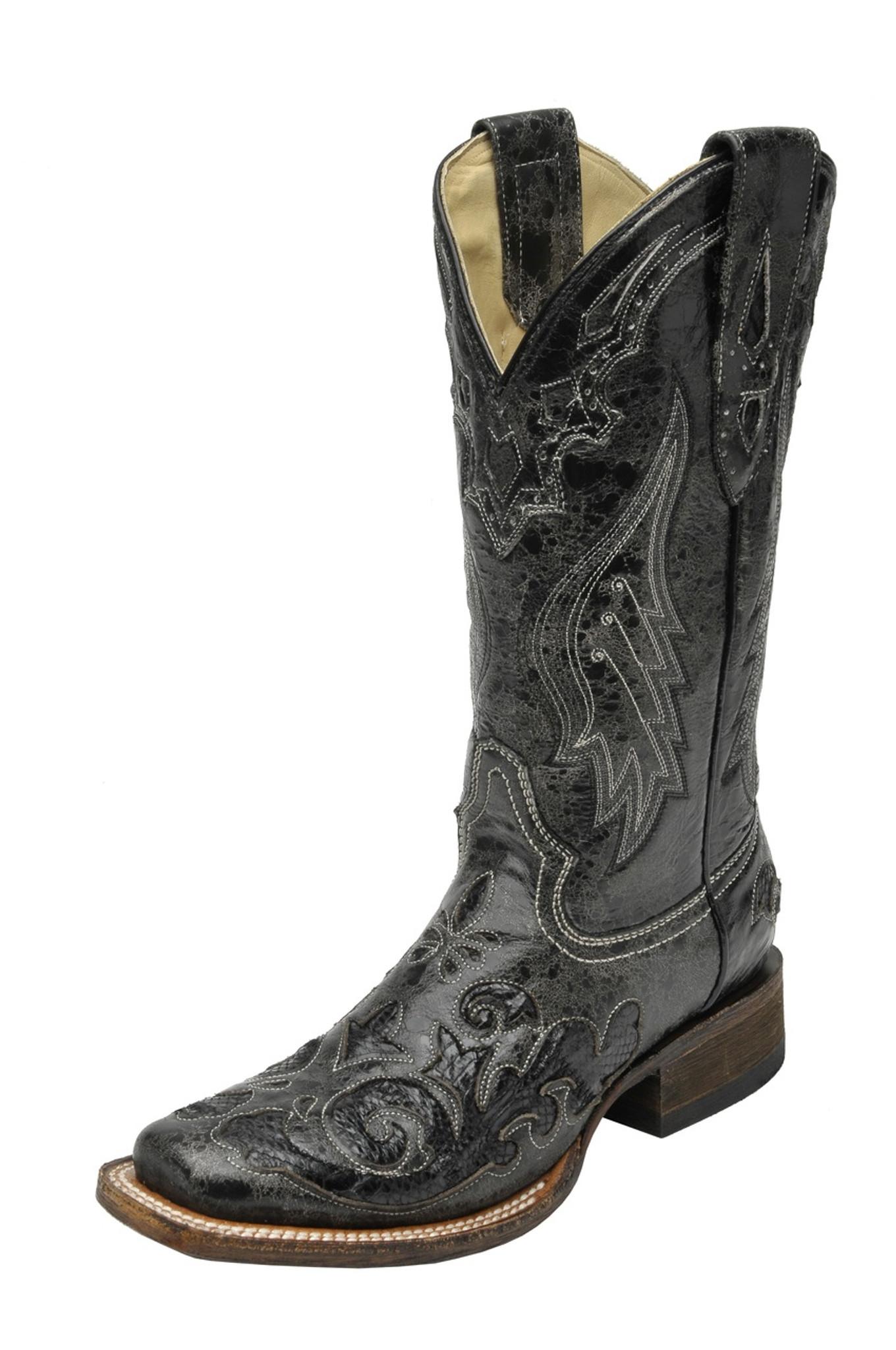b3448e1c7ff Women's Corral Boot, Black w/ Snake In Lay