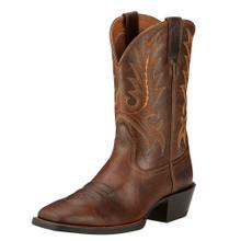 Men's Ariat Boot, Brown w/ Orange Stitch
