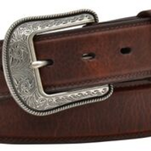 Men's 3D Belt, Dark Brown, Plain, 1- ½ ""