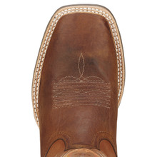 Men's Ariat Boot, Wildstock Brown with Orange Stitch, Riding Heel