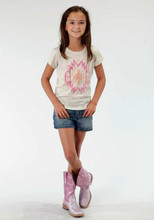Girls Roper Tee, Tan and Pink Aztec