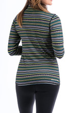 Women's Cinch Pullover, Green, Blue and White Aztec Stripe, 1/4 Zip