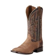 Men's Ariat Boot, Ranchero, Khaki and Dark Brown, Orange and White Stitch, Square Toe