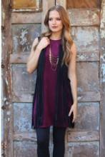 Women's Angie Dress, Sleeveless, Suede, Wine