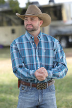 Men's Cinch L/S, Teal  and Navy Plaid
