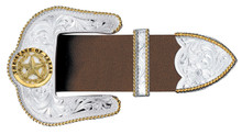 """Montana 3 Piece Buckle Set,  Star of Texas, SIlver and Gold 1.5"""""""