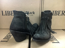 Women's Liberty Black Boots, Ankle with Fringe