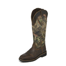 Men's Justin Work Boot, Brown Square Toe, Tall Camo Shaft, Snake Boot