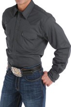 Men's Cinch L/S, Modern Fit, Charcoal with Black Print