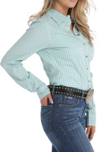 Women's Cinch L/S, Mint and Gray Plaid