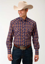 Men's Roper L/S, Orange and Navy Plaid, Pearl Snap, 2 Pocket