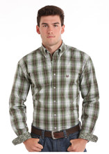 Men's Panhandle L/S, Gray and Green Plaid